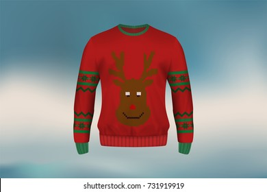 3D mockup of Christmas sweater or jumper in reindeer design, concept for apparel in Christmas and new year holiday season in vector illustration