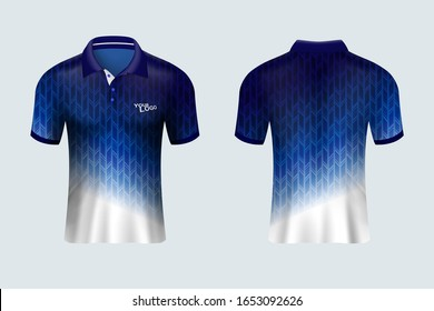 3D mockup of men polo shirt. Blue and withe pattern uniform jersey t shirt. It can be used for soccer, golf or badminton shirt jersey kit design in vector illustration