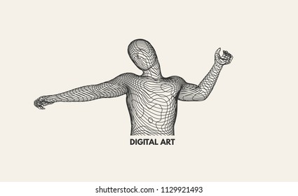 3d model of man. Vector illustration. Wire connection to virtual reality.
