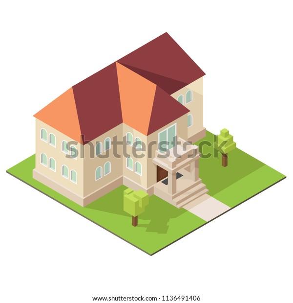 3d Model Mansion Illustration Property Isometric Stock