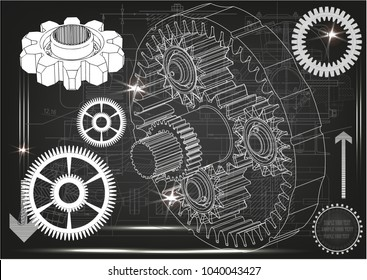 3d model of the planetary mechanism on a gray background. Gear