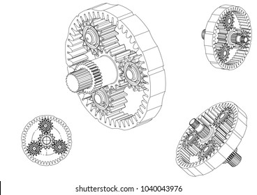 3d model of the planetary mechanism on a white background. Gear