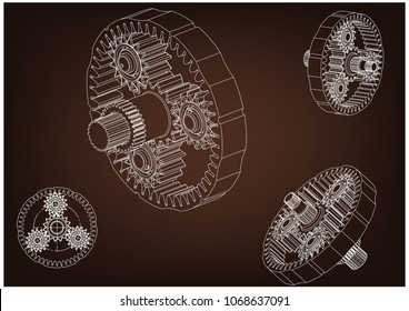 3d model of the planetary mechanism on a brown background. Gear