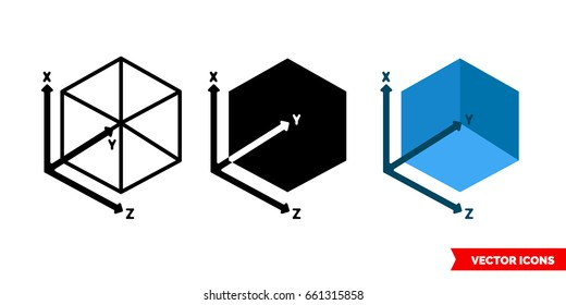 3D Modeling icon of 3 types: color, black and white, outline. Isolated vector sign symbol.