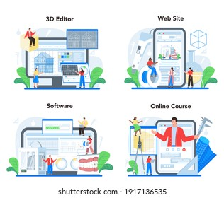 3D modeling online service or platform set. Digital drawing with electronic tools and equipment. 3D modeling and engineering. Online course, 3d editor, software, website. Isolated vector illustration