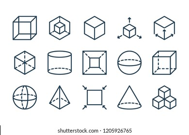 3D modeling related line icon set.