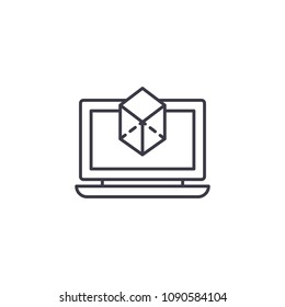 3D modelling linear icon concept. 3D modelling line vector sign, symbol, illustration.