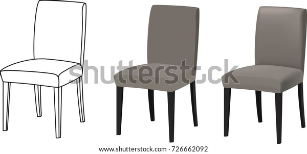 3d Models Chairs Drawing Stock Vector (Royalty Free) 726662092