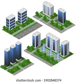 3d modern City building. Isometric eco city modules isolated with office buildings, houses, streets and park area with trees and fountains. For urban landscapes, metropolis scenes. Vector illustration