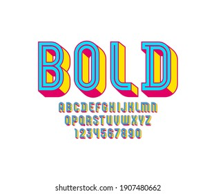 3D modern Font, trendy bright alphabet, condensed letters and numbers, vector illustration 10eps