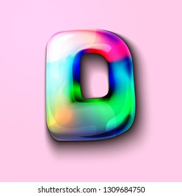 3d modern holographic letter D . 3d gelatinous letter of the alphabet. 3d  candy letters. Volumetric letter with watercolor divorce. A drop of water in the form of a colored letter of the alphabet.