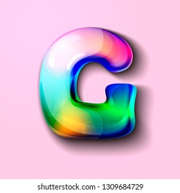 3d modern holographic letter G . 3d gelatinous letter of the alphabet. 3d  candy letters. Volumetric letter with watercolor divorce. A drop of water in the form of a colored letter of the alphabet.