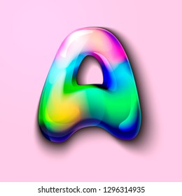 3d modern holographic letter A . 3d gelatinous letter of the alphabet. 3d  candy letters. Volumetric letter with watercolor divorce. A drop of water in the form of a colored letter of the alphabet.