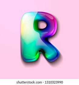 3d modern holographic letter R . 3d gelatinous letter of the alphabet. 3d  candy letters. Volumetric letter with watercolor divorce. A drop of water in the form of a colored letter of the alphabet.