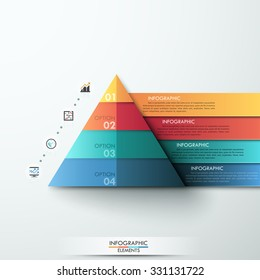 3d modern infographic option template with pyramid made of colorful paper ribbons. Vector. Can be used for workflow layout, banner, diagram, number options, web design