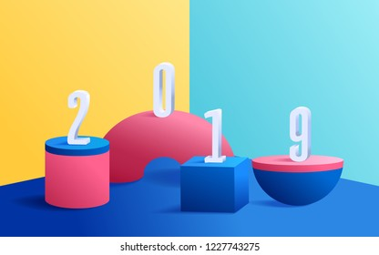 3D modern minimalist mockup colorful geometric. Geometric shapes on colorful background with 2019 Happy New Year. Vector Illustration.