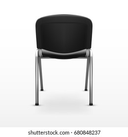 3D Modern Office Chair Black Cloth. Back View. EPS10 Vector