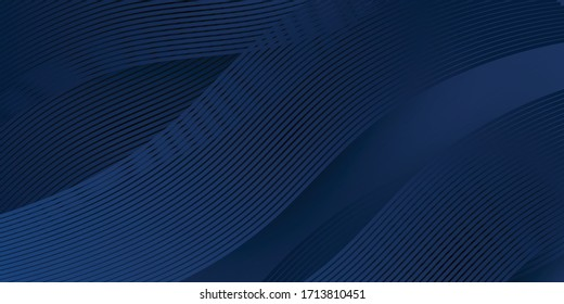 3D modern wave curve abstract presentation background. Luxury paper cut background. Abstract decoration, golden pattern, halftone gradients, 3d Vector illustration. Dark blue background - Shutterstock ID 1713810451