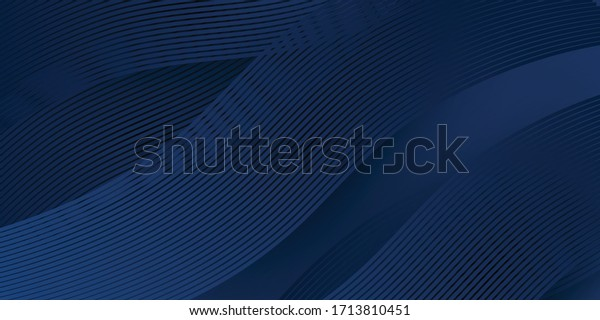 3D modern wave curve abstract presentation background. Luxury paper cut background. Abstract decoration, golden pattern, halftone gradients, 3d Vector illustration. Dark blue background