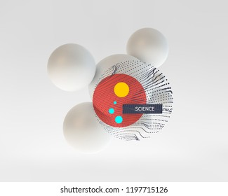 3d molecule. Vector illustration for science, technology, marketing, presentation.