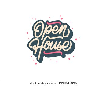 3D Mono Line Open House Calligraphy with Splash and White Background