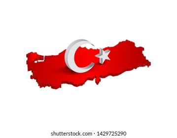 3D moon and star figure on turkey 3D map render, waving flag turkey, turkish flag, eps 10 vector illustration