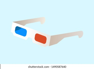 3D movie watching glasses vector, isolated spectacles with red and blue colors on lenses, eyeglasses made of paper, three dimensional world of film