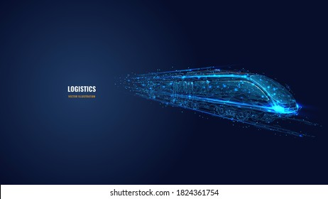3d moving high-speed train in dark blue. Railway logistics, transport, tourism and technology concept. Abstract vector mesh looks like starry sky. Digital low poly wireframe with connected dots