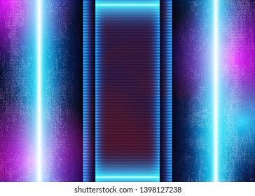 3D Neon Light on Grunge Futuristic Background, Blue and Violet Abstract Glow Lines, Sci-Fi Conceptual Graphic Design. Vector Illustration/Visualization - Vector