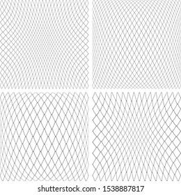 3D net textures set.  Abstract convex and concave backdrops set. Vector art.