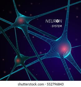 3D neuron system model. Vector graphic design element for science publication.