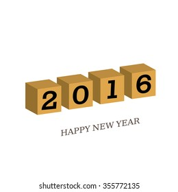 3D. New Year 2016 . Happy new year greeting with number 2016  and curl Collection of design elements.vector illustration.