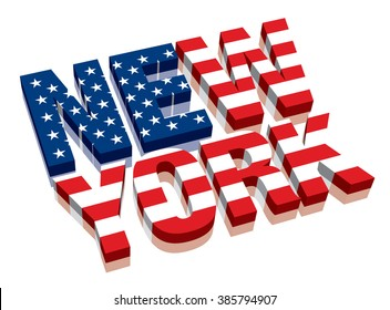 3D New York with American flag Word Text (letters)