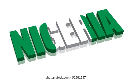 3D Nigeria Word Text Flag (letters)