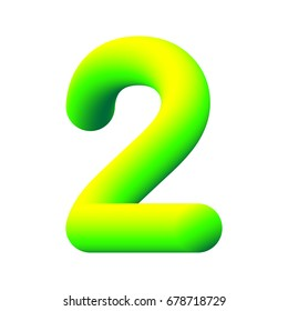 3d number 2, two. 3d font. Three-dimensional numeral alphabet letter. EPS10 vector illustration. Neon yellow-green font.