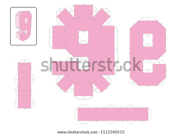 3d Numbers Paper Craft Model Template Stock Vector (Royalty Free