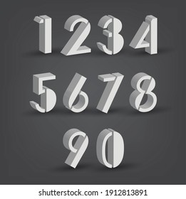3D numbers set style. sign