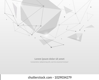 3d object with a light effect. Abstract technical background. Geometric grid of communications and networks.