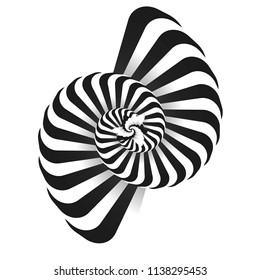 3D object. Psychology and philosophy, a sample for printing. Black and white fractal background.