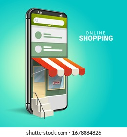 3D Online Shopping on Websites or Mobile Applications Concepts of Vector Marketing and Digital Marketing. with isometric smartphone design and perspective illustration. for online store promotion.