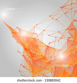 3D Orange Abstract Mesh Background with Circles, Lines and Shapes | EPS10 Design Layout for Your Business