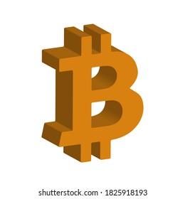 A 3d orange bitcoin symbol background image.