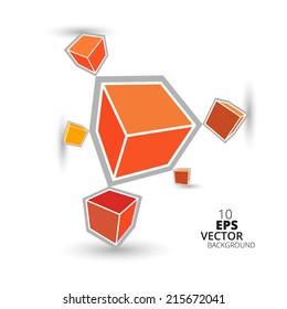 3d Orange cubes background, eps10 vector.