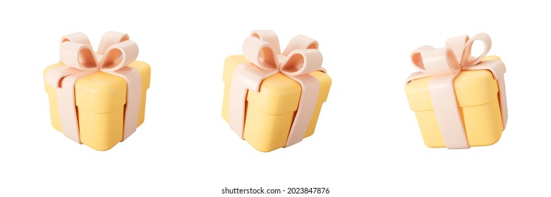 3d orange gift box set with pastel ribbon bow isolated on a white background. 3d render flying modern holiday closed surprise box. Realistic vector icon for present, birthday or wedding banners