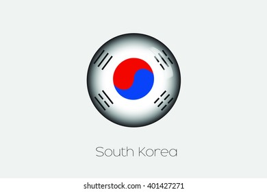 A 3D Orb with a Flag Illustration of South Korea