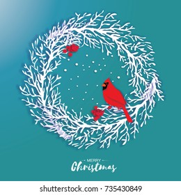 3D Origami Christmas Wreath with Red Cardinal and Rowan berry. Paper cut tree branch. Bird. Happy New Year. Winter snowflakes. Circle carving frame. Text. Blue background. Vector