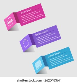 3D origami infographic design template, stock vector