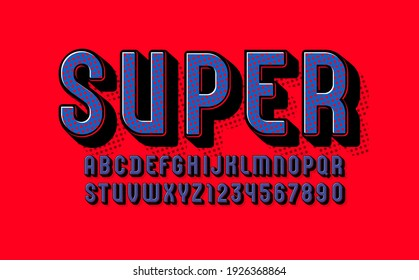 3D original Font, trendy bright alphabet, modern condensed capital Latin letters from A to Z and Arab numbers from 0 to 9 using stars, vector illustration 10EPS