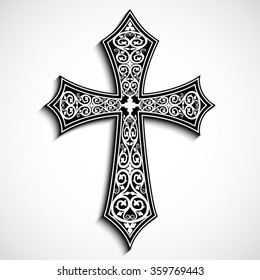 3d ornamental cross with shadow / vector illustration