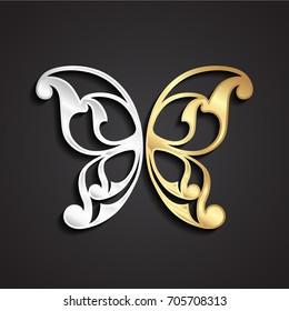 3d ornamental golden silver butterfly wing shape symbol